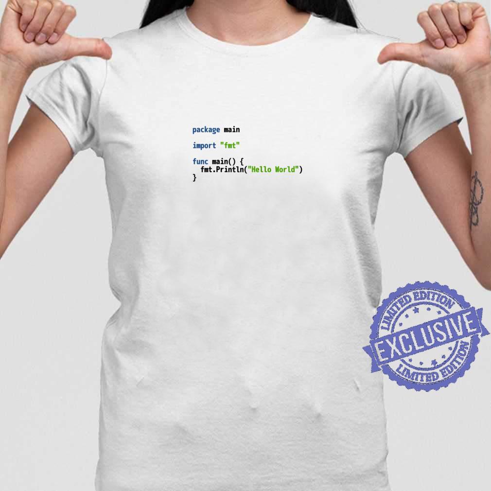 Hello World Go Code Light Syntax Scheme Coder Design Shirt ladies tee