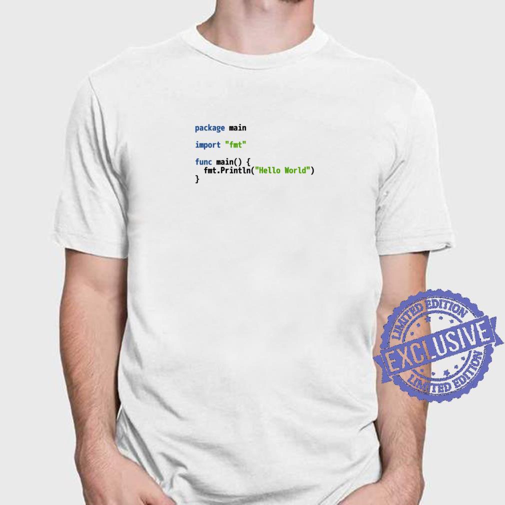 Hello World Go Code Light Syntax Scheme Coder Design Shirt