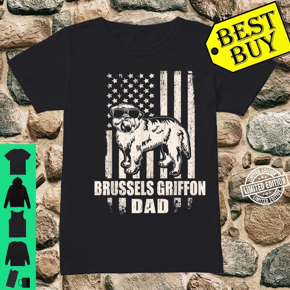 Brussels Griffon Dad Cool Vintage Retro Proud American Shirt ladies tee