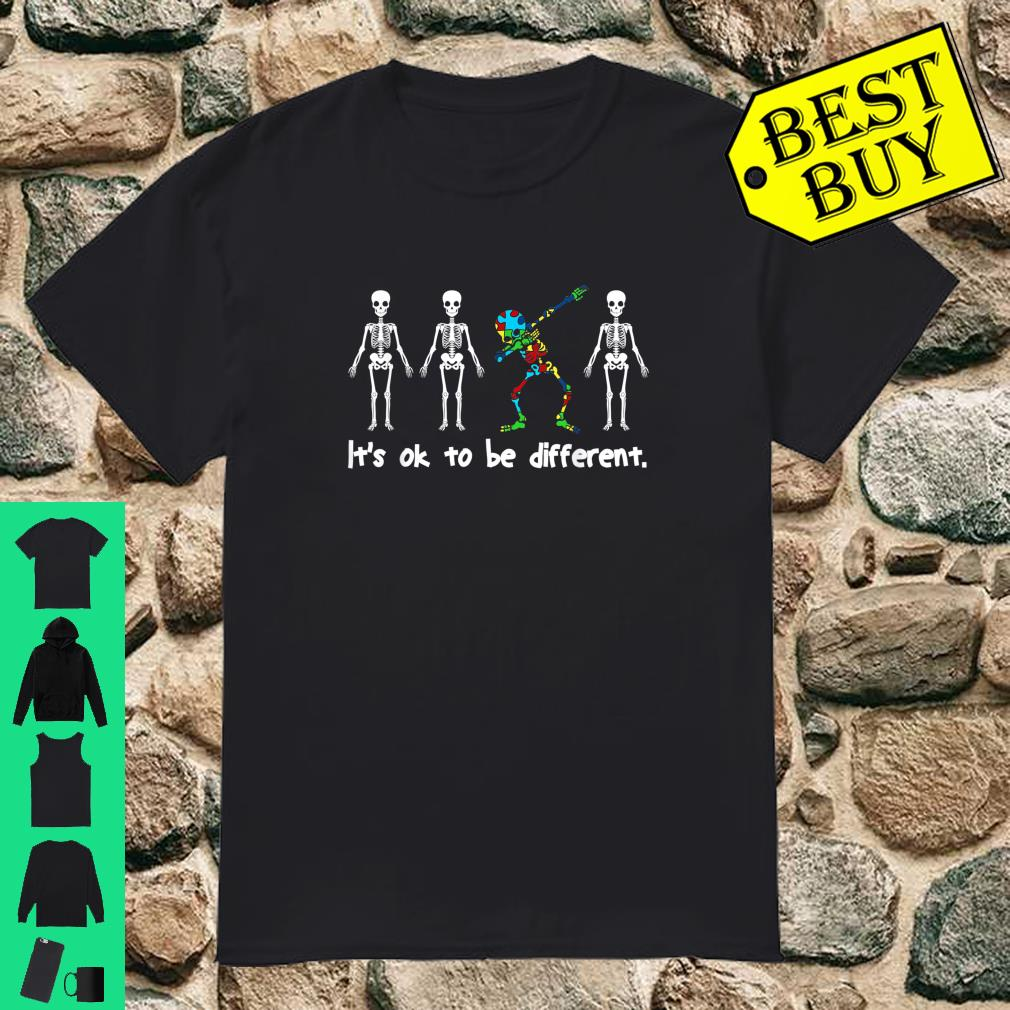 It's Ok To Be Different Dabbing Skeleton Autism Halloween Shirt
