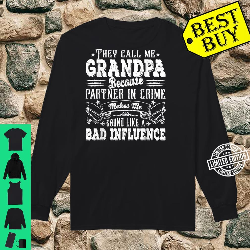 Mens Grandpa Dad Bad Influence Father's Day Christmas Shirt long sleeved