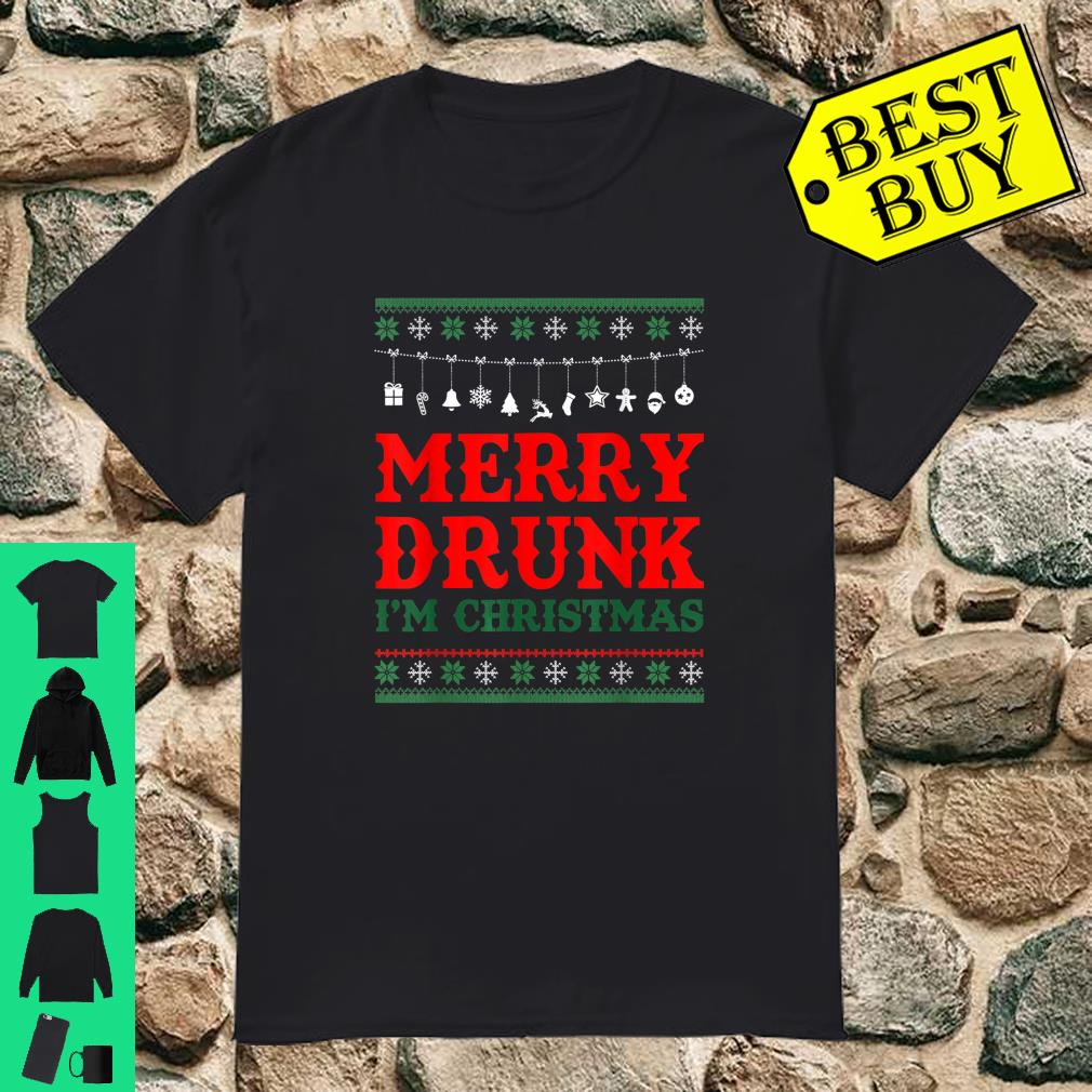 Merry Drunk I'm Christmas Gift Wine Beer Drinking Party shirt