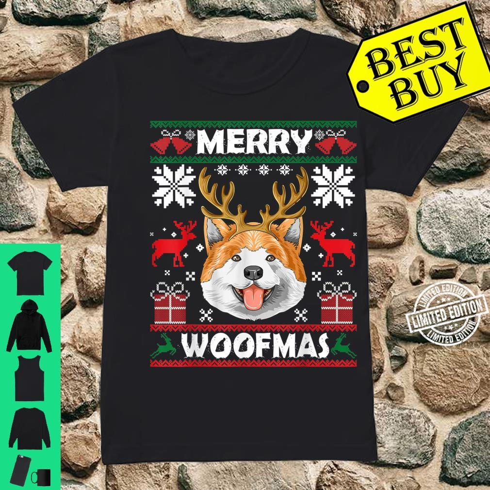 Merry Woofmas Akita Christmas Dog Xmas Shirt ladies tee