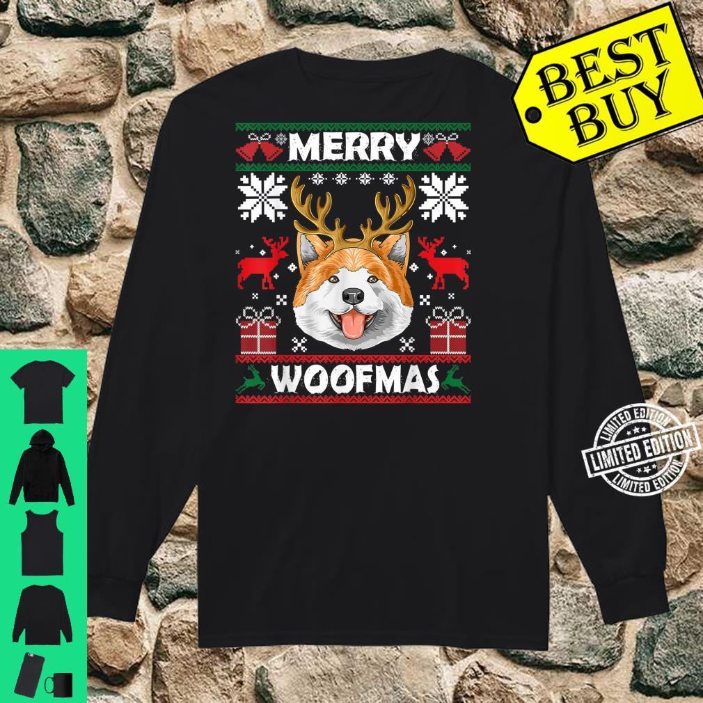Merry Woofmas Akita Christmas Dog Xmas Shirt long sleeved