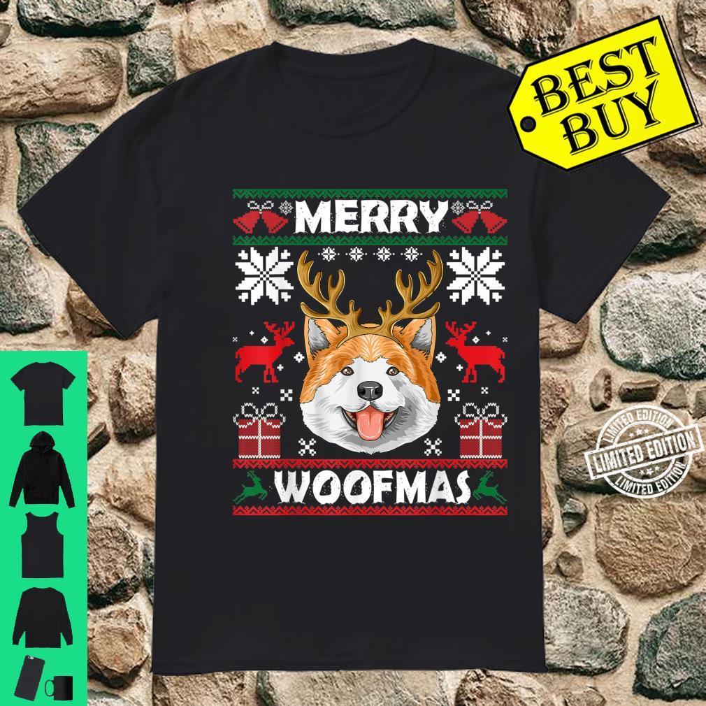 Merry Woofmas Akita Christmas Dog Xmas Shirt