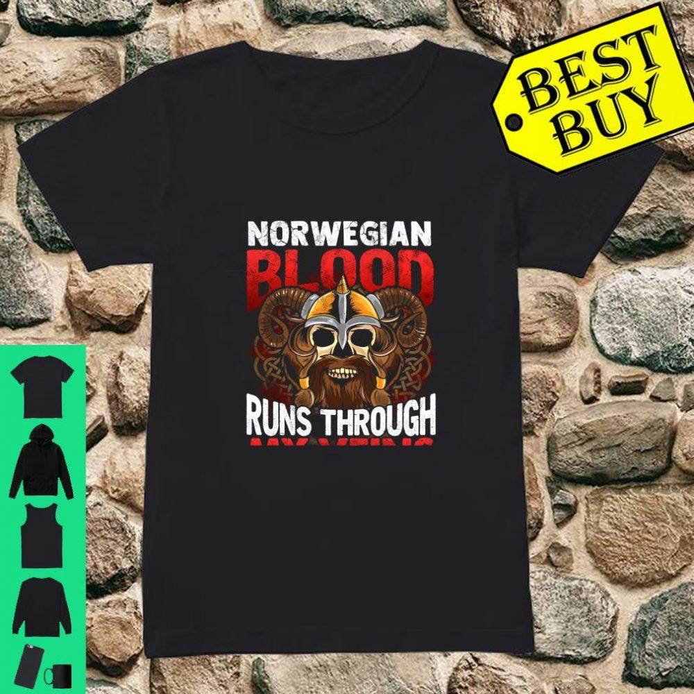 Norwegian Viking Blood Norway Norge Vikings Runs Through My Veins shirt ladies tee