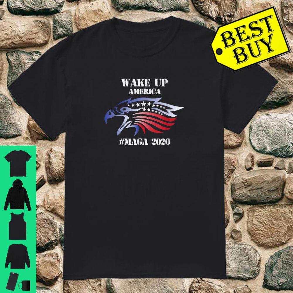 Red White And Blue Bald Eagles Angry Wake Up America MAGA Shirt