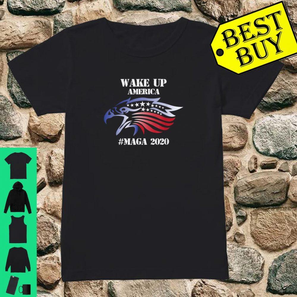 Red White And Blue Bald Eagles Angry Wake Up America MAGA Shirt ladies tee