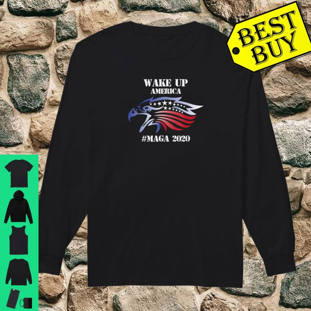 Red White And Blue Bald Eagles Angry Wake Up America MAGA Shirt long sleeved