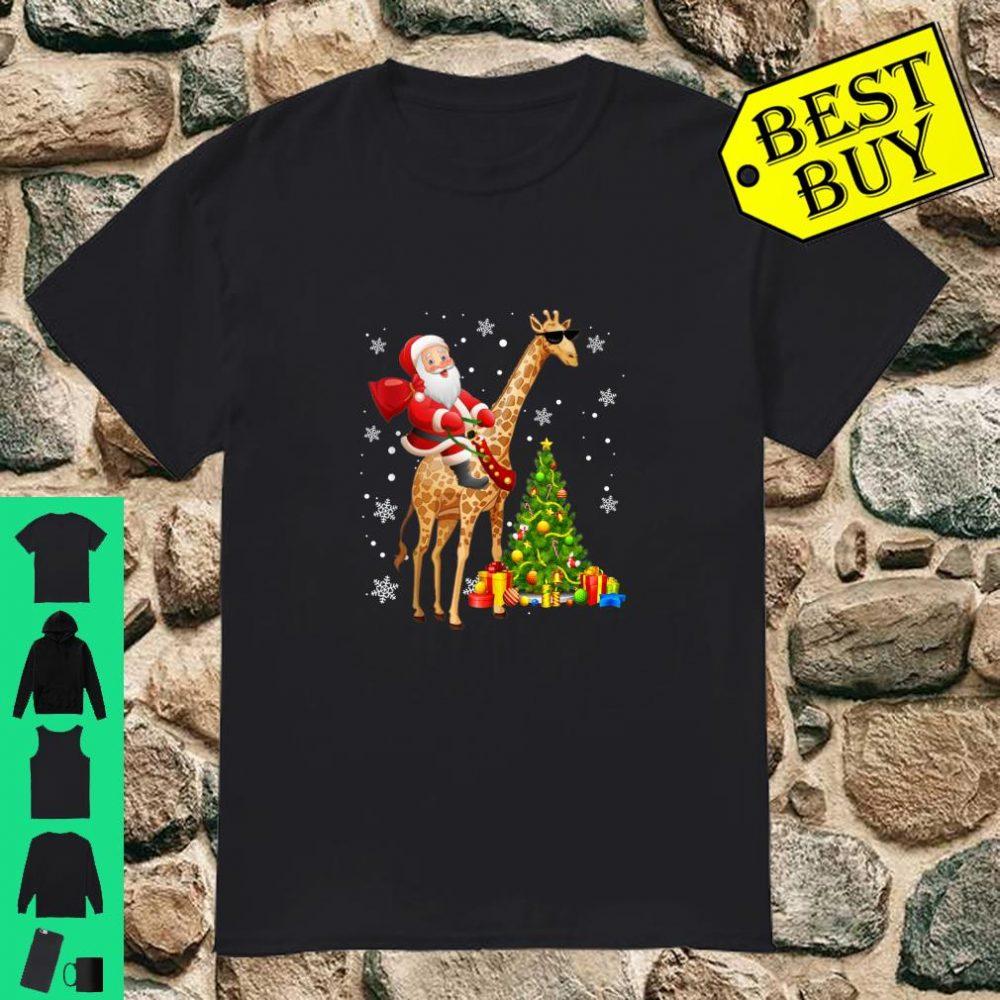 Santa Riding Giraffe Under Snow Christmas Pajama Xmas shirt