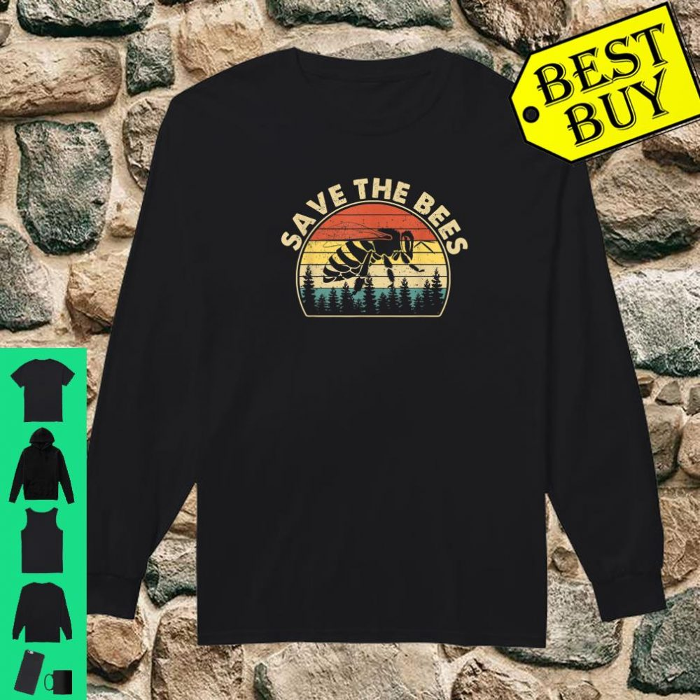 Save The Bees Vintage Retro Style Climate Change shirt long sleeved