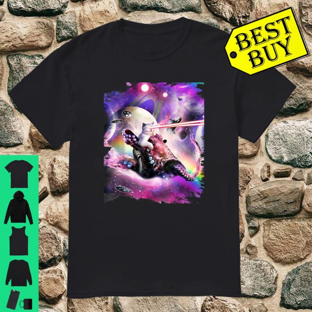 Space Galaxy Laser Cat On Octopus Shirt