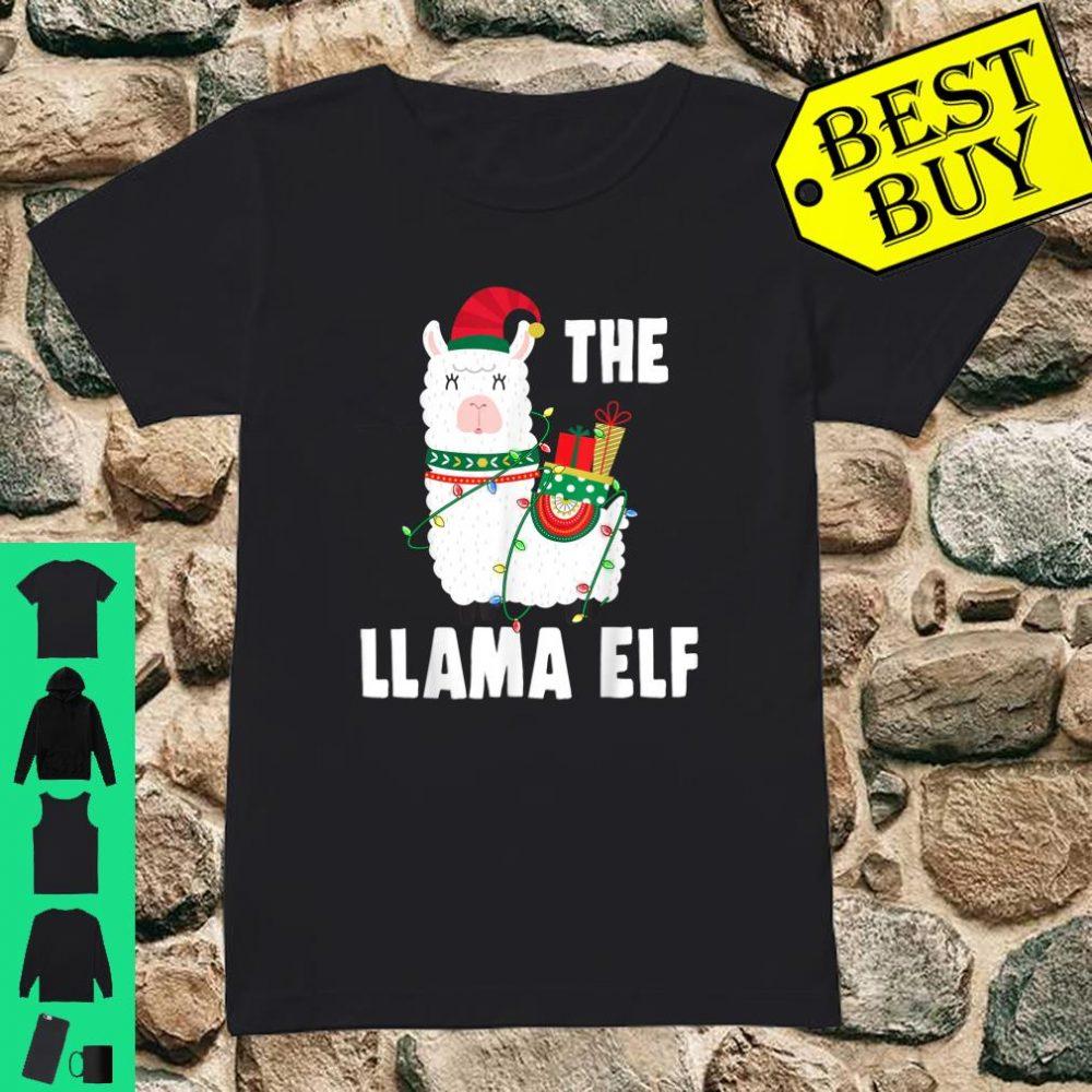 The Llama Elf Christmas Light Snow shirt ladies tee
