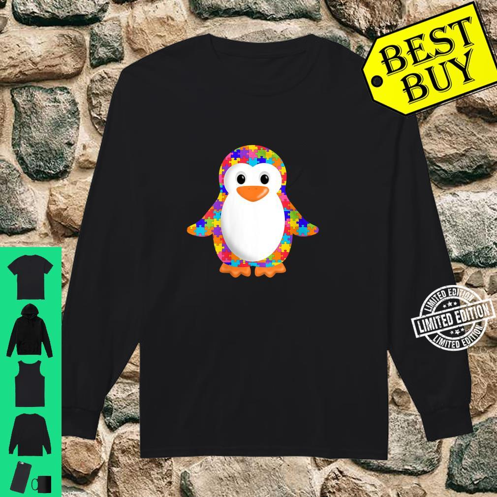 Womens Penguin Jigsaw Autism puzzle Apparel girls and boys Shirt long sleeved