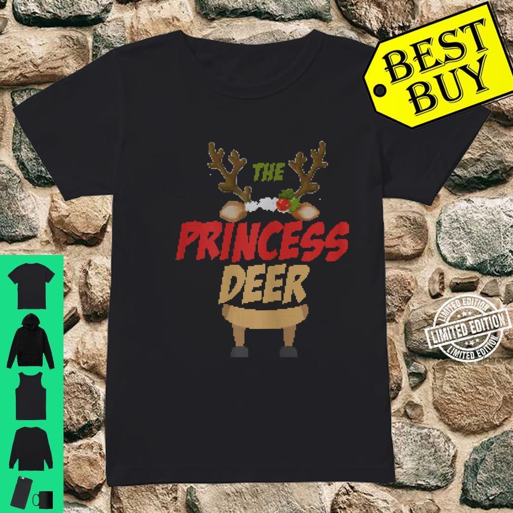 Womens The Princess Deer Ugly Christmas Family Matching Group Shirt ladies tee
