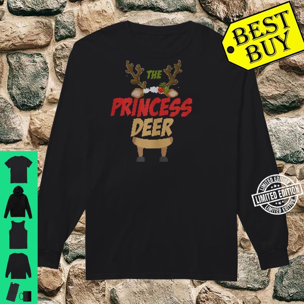 Womens The Princess Deer Ugly Christmas Family Matching Group Shirt long sleeved